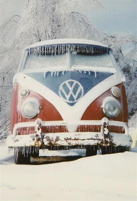 volkswagen snow vw window bus in the snow random and vintage
