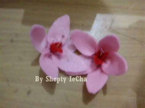 tutorial bunga sakura dari flanel cara membuat bunga sakura dari kain flanel part 1 youtube