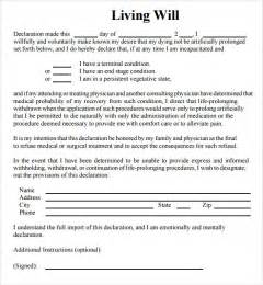 Living Will Template by Sle Living Will 8 Documents In Pdf