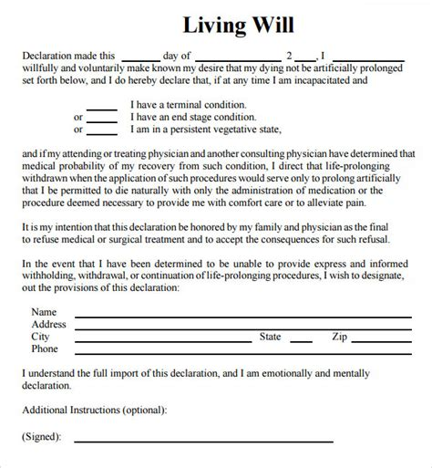 template for a will free sle living will 8 documents in pdf