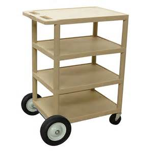 Putty 4 shelf serving cart with rear big wheels 18 quot x 24 quot x 39