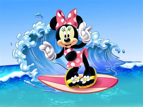 minnie mouse surfing sea waves images disney wallpaper hd