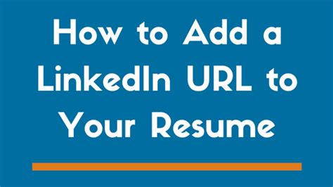 Linkedin Url On Resume by How To Include A Linkedin Url On Your Resume Exles