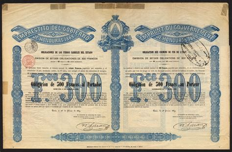 Hn 100 Original 15gr honduras 1870 10 government railway loan bond for 163 100 9068 black coupons at either side