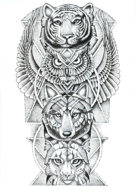 owl tattoo totem spirit animal totem pole tiger owl wolf lynx