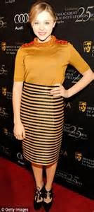 Young and successful chloe moretz wore an unusual mustard and black