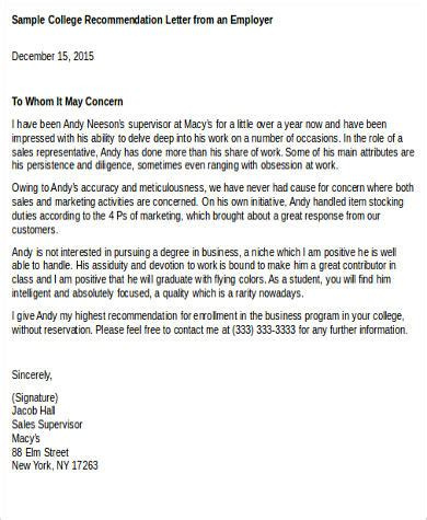 College Recommendation Letter Sle From Employer recommendation letter for employee to college 28 images