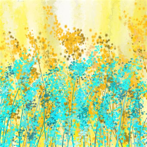 turquoise and yellow yellow and turquoise garden painting by lourry legarde