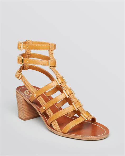 burch gladiator sandals burch gladiator sandals reggie block heel in brown lyst