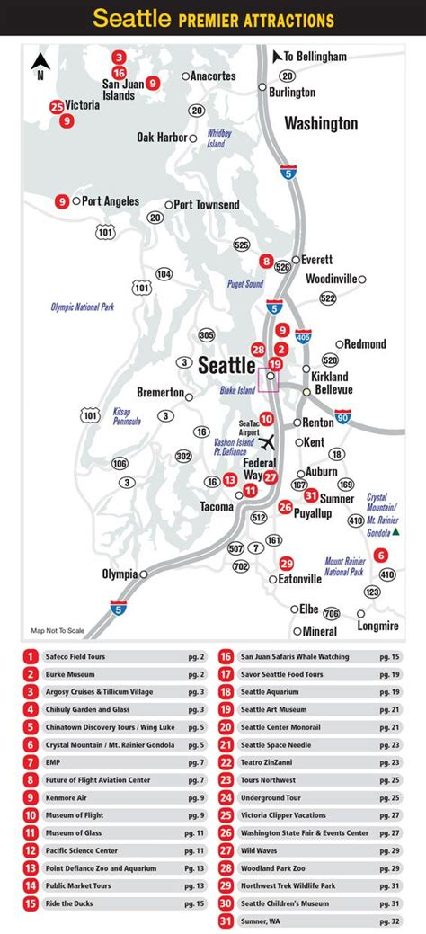 seattle map with attractions seattle attractions map travel