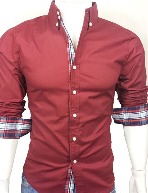 men  casual slim fit long sleeve dress shirt dark red