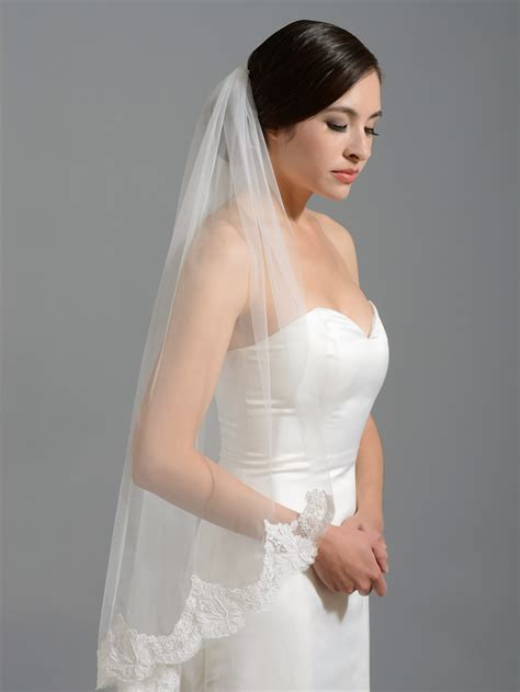 Wedding Veil by Ivory Alencon Lace Wedding Veil V049