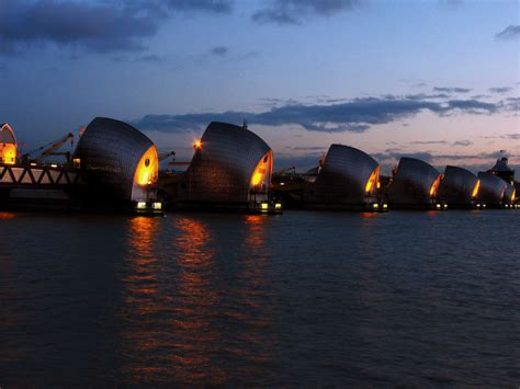 thames barrier at night thames barrier docklands photography
