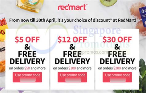 free delivery 30 redmart 5 to 30 storewide free delivery coupon