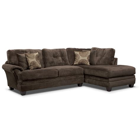 chocolate sectional cordelle 2 piece right facing chaise sectional chocolate