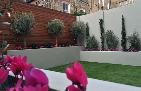 raised render block beds artificial grass lawn olive trees buxus topiary small modern garden
