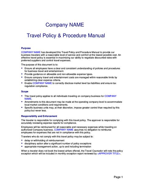 Business Travel Expense Policy Templates Business Spreadshee Business Travel Expense Policy Travel And Expense Policy Template