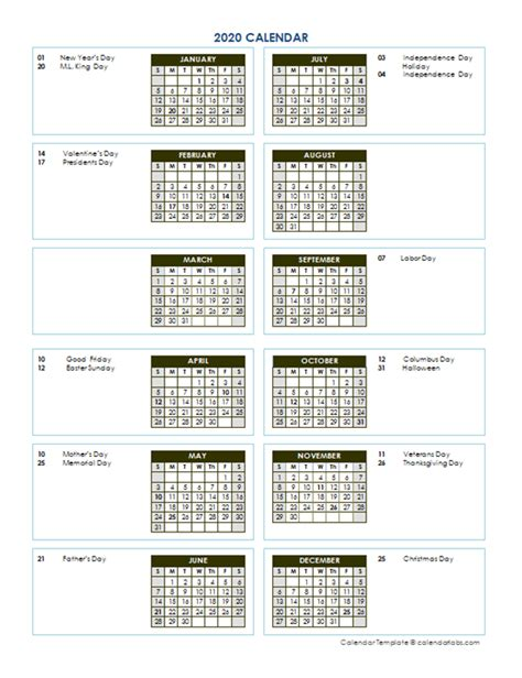 annual calendar vertical template  printable