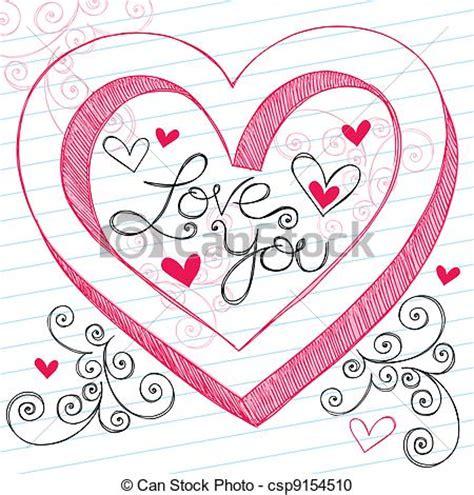 i you doodle clipart vecteur de 3d amour vous coeur valentines
