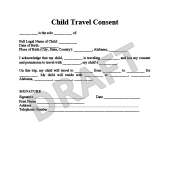 authorization letter for minor traveling alone travel consent form permission to travel letter