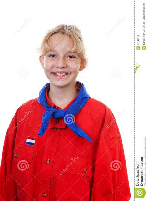 portrait  dutch scout girl stock photo image