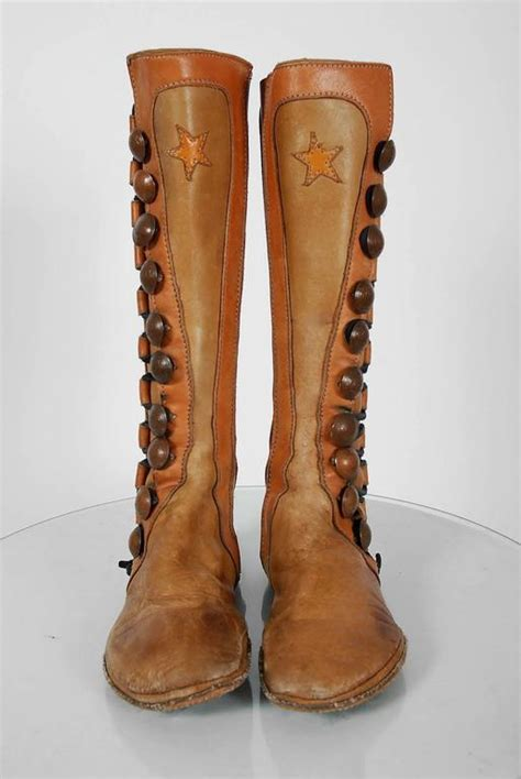 Handmade Moccasin Boots - 1960 s handmade bohemian brown leather hippie