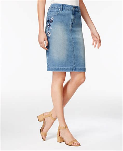 style co floral embroidered denim skirt only at macy s