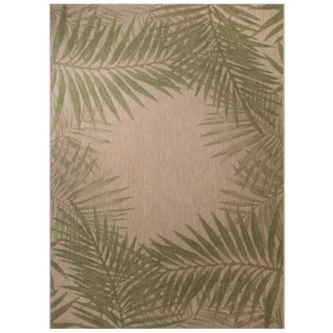 Palm Border 7 Ft 10 In X 10 Ft Indoor Outdoor Area Rug Outdoor Rugs Home Depot