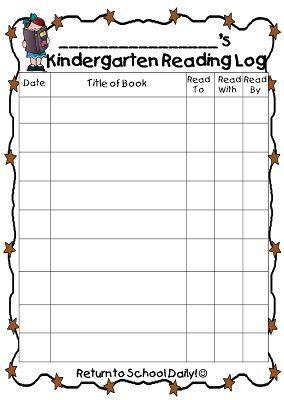 printable pre k reading log kindergarten reading log reading logs and kindergarten