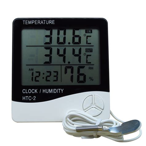 htc 2 lcd digital thermometer hygrometer electronic temperature humidity meter clock weather
