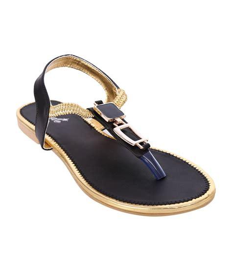 jade black faux leather flat sandal price in india buy