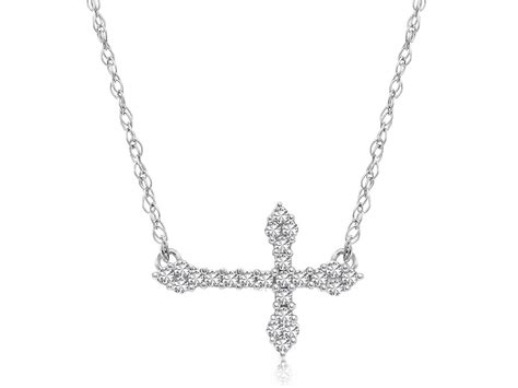 accented horizontal cross necklace in 14k white
