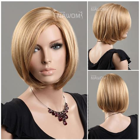 hairstyle to distract feom neck new european kanekalon side swept bang gold straight neck