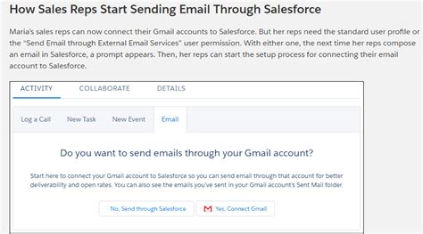 email sles for sending how to setup the sales reps start sending email through salesforce salesforce stack exchange