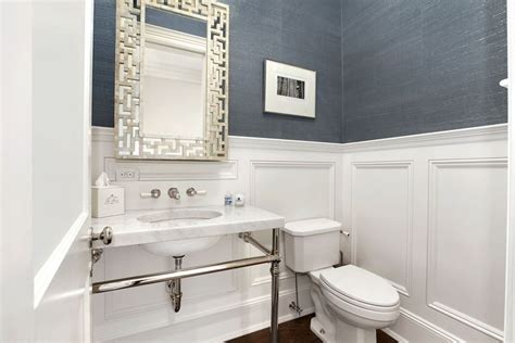 Blue Wainscoting by Blue Grasscloth Wallpaper Fretwork Mirror In Powder Room