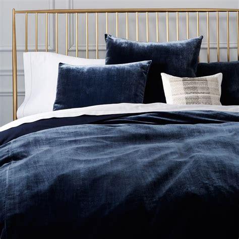 blue velvet bed luxe midnight blue velvet duvet cover shams