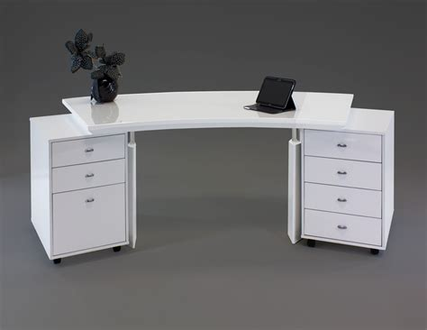 white lacquer desk bali curved