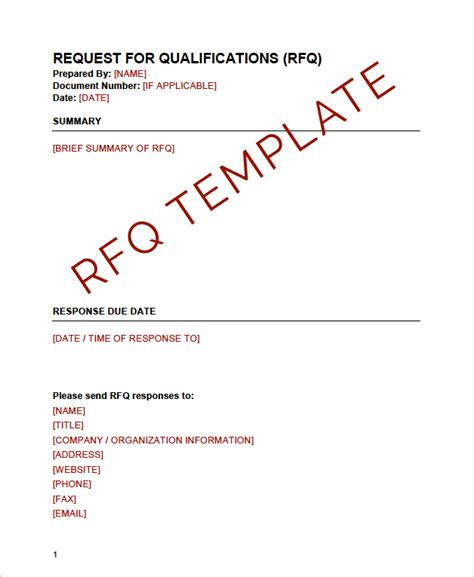 rfq template request for qualifications rfq template