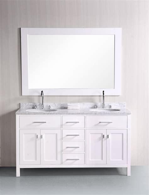 61 inch bathroom vanity 61 inch double sink vanity with pearl white finish