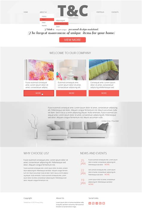 responsive web design layout template interior design responsive website template 45043