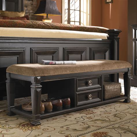 Furniture Brookfield by Pulaski Furniture Brookfield Bedroom Bench With Drawers And Upholstered Seat Olinde S