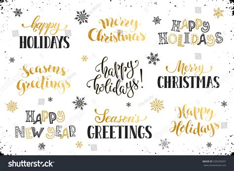 hand written new year phrases greeting stock vector