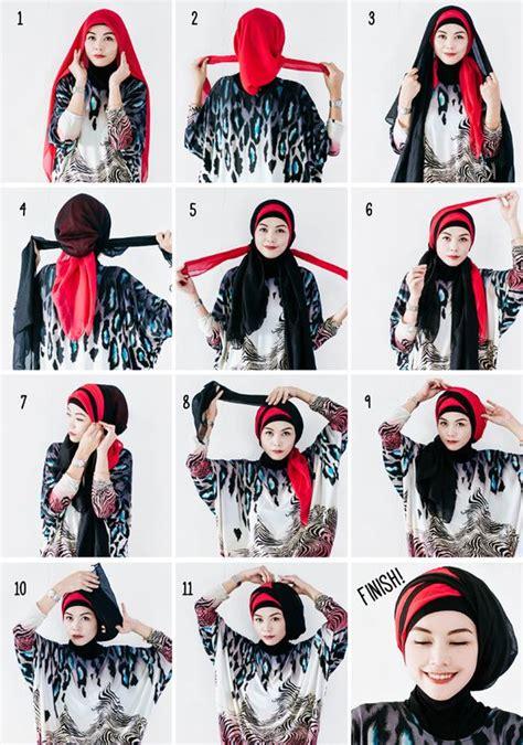 tutorial hijab segi empat simple  modis  bermacam