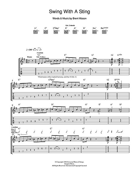 Swing With A Sting Guitar Tab By Brent Mason Guitar Tab