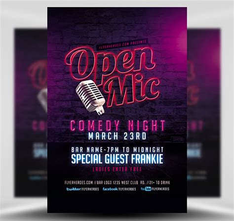 Open Mic Comedy Night Flyer Template 2 Flyerheroes Open Mic Poster Template