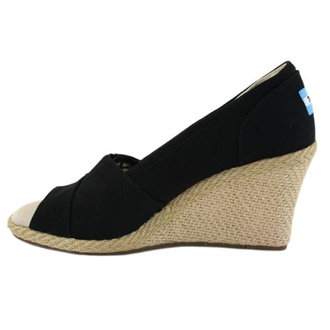 toms classic wedge womens wedges in black