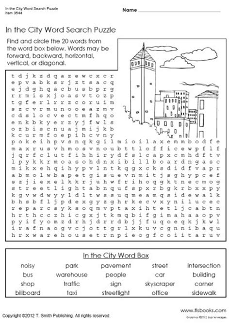 Search For By City On In The City Word Search Puzzle