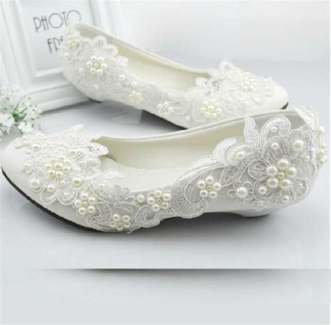 Flat White Wedding Shoes For by Lace Shoes Handmade Wedding Shoes Flat White Pearl