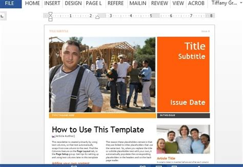 professional newsletter template for word