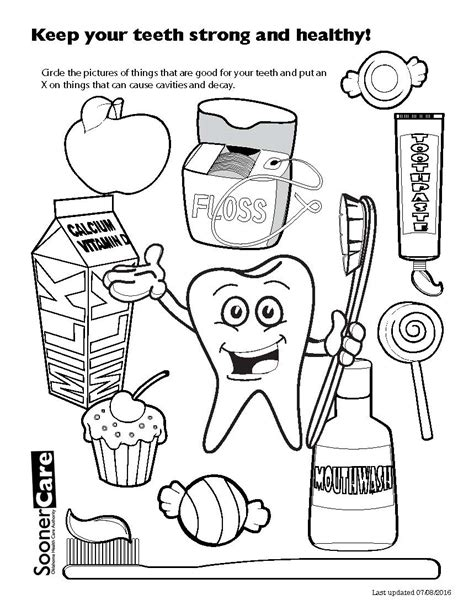 Ohca Soonercare Dental Healthy Teeth Coloring Pages